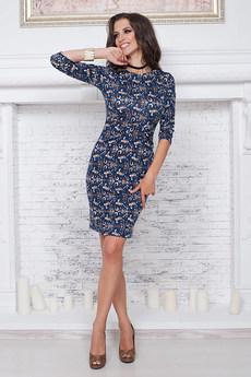 Темно-синее платье футляр  Angela Ricci