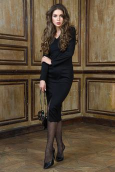Черное вечернее платье с разрезом Mondigo
