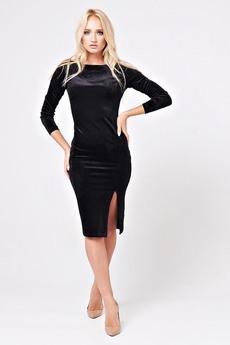 Черное бархатное платье с разрезом Angela Ricci