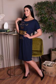 Темно-синее свободное платье ElenaTex